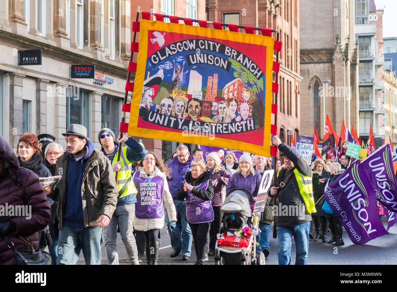 L'égalité de rémunération et de démonstration mars à Glasgow, Ecosse 10 Février Photo Stock