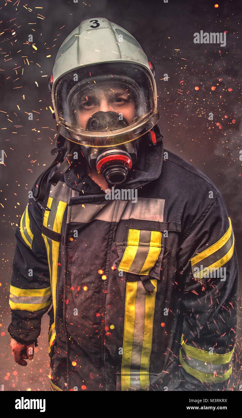 Portrait de pompier . Concept Art Photo Stock