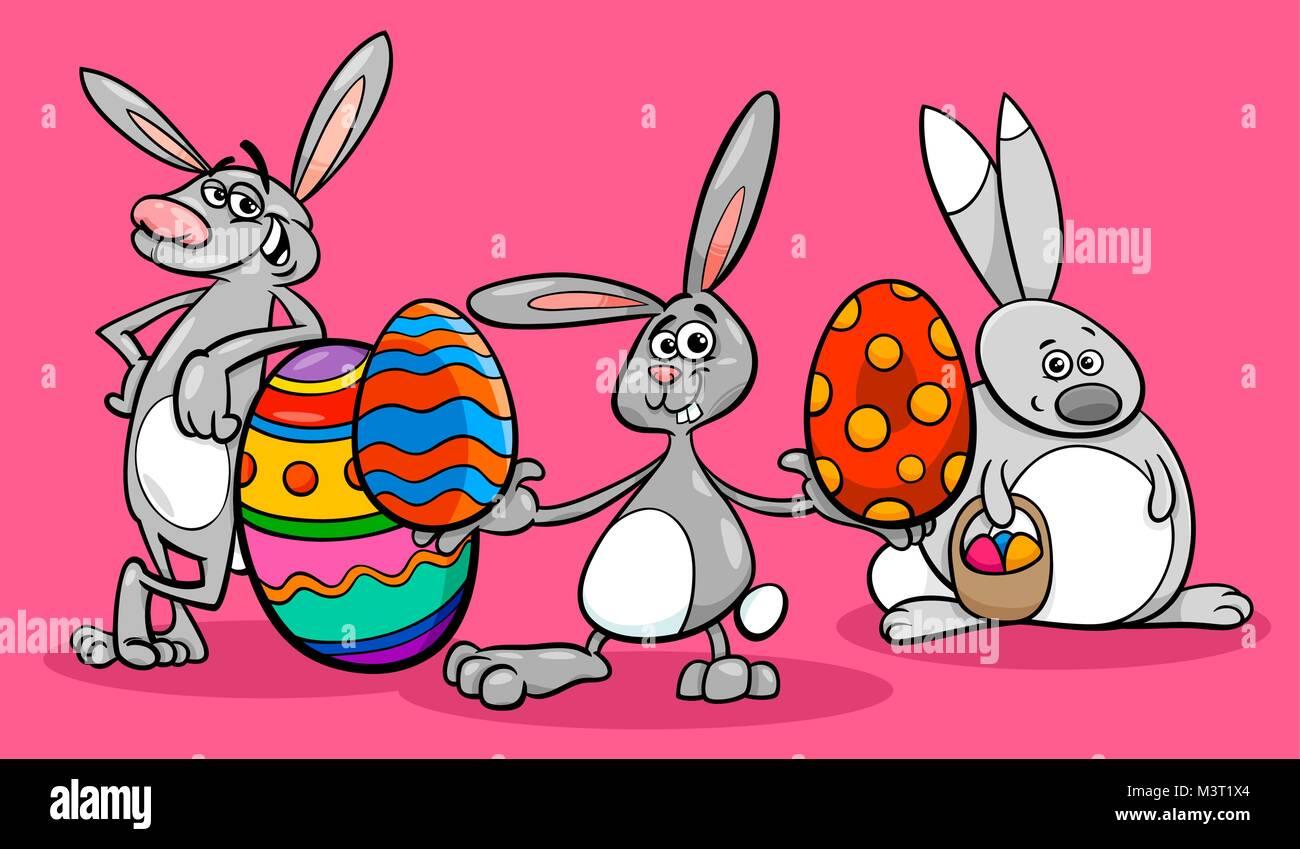 Cartoon Illustration De Lapins De Paques Droles De Caracteres Avec Les Oeufs Colores Image Vectorielle Stock Alamy