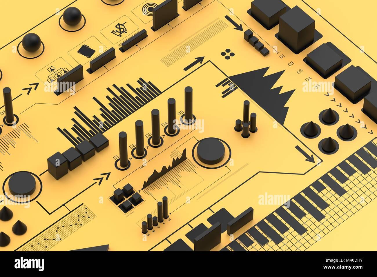 Infographie 3d arrière-plan, concept d'entreprise. Illustration 3D Photo Stock