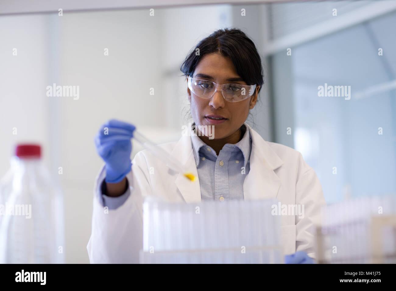 Female scientist analyzing test tube échantillon Photo Stock