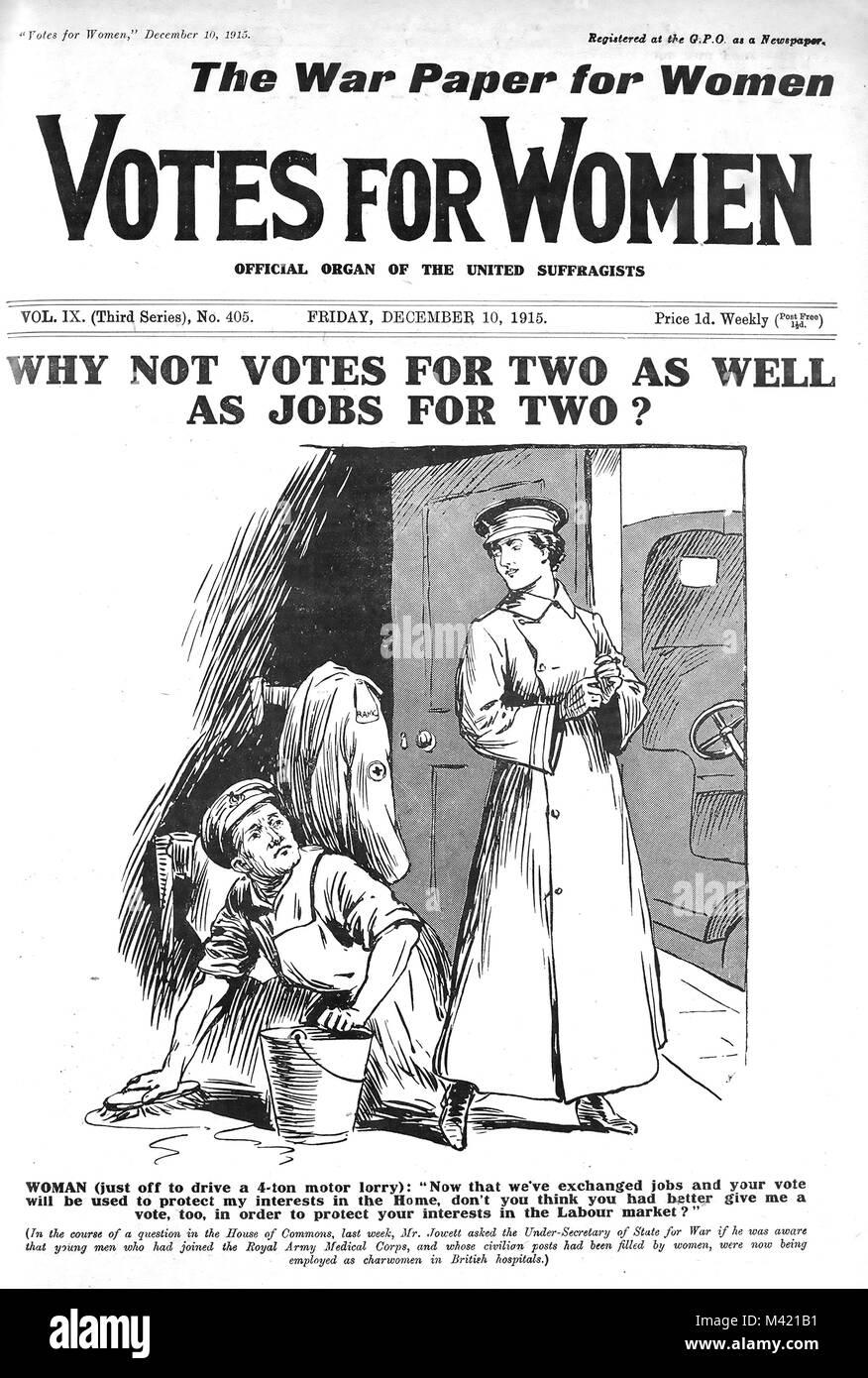 Le VOTE DES FEMMES Anglais journal des suffragettes 10 Décembre 1915 Banque D'Images