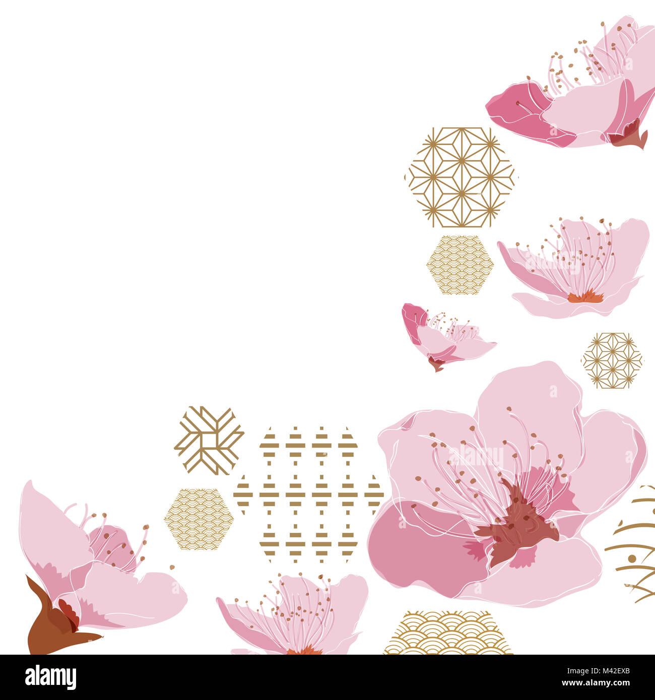 Motif De Fleurs Fleurs De Cerisier Japonais Avec De L Or Des