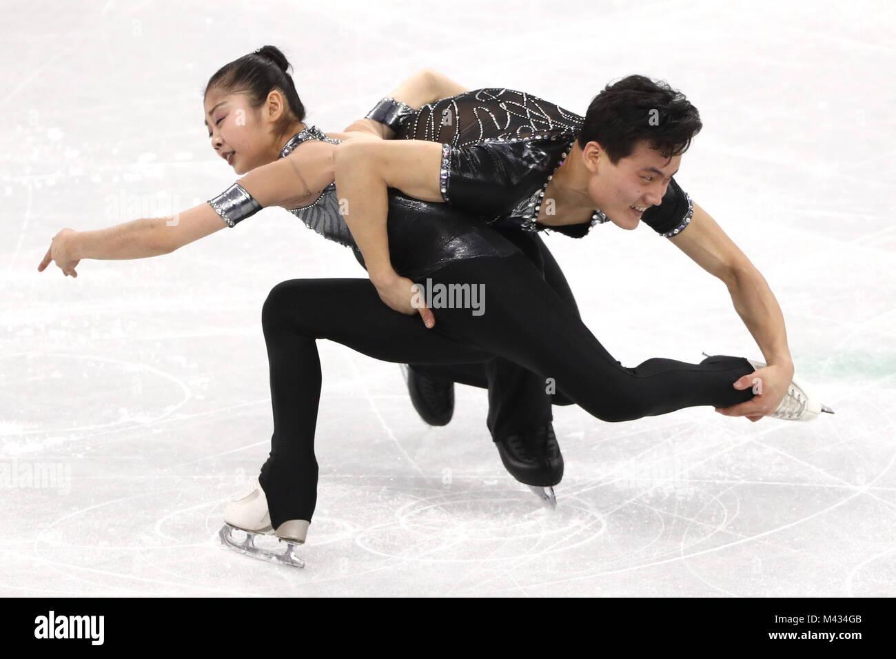 Gangneung, Corée du Sud. Feb 14, 2018. Patineurs en couple de la Corée du Nord Kim Ju Sik et Ryom Tae Photo Stock