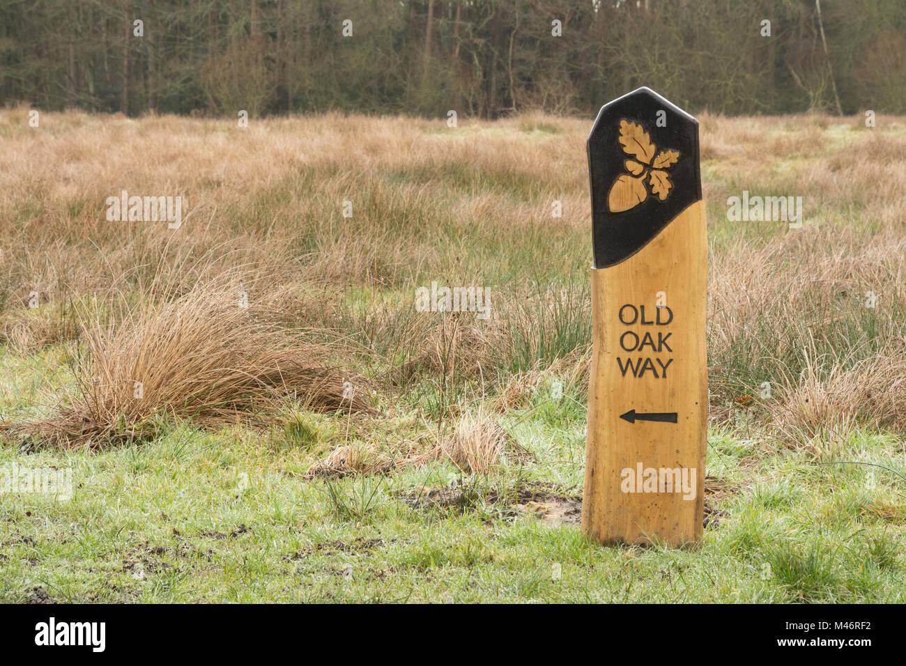 Panneau en bois pour un sentier autour Bramshot Farm Country Park près de flotte dans le Hampshire, au Royaume Photo Stock