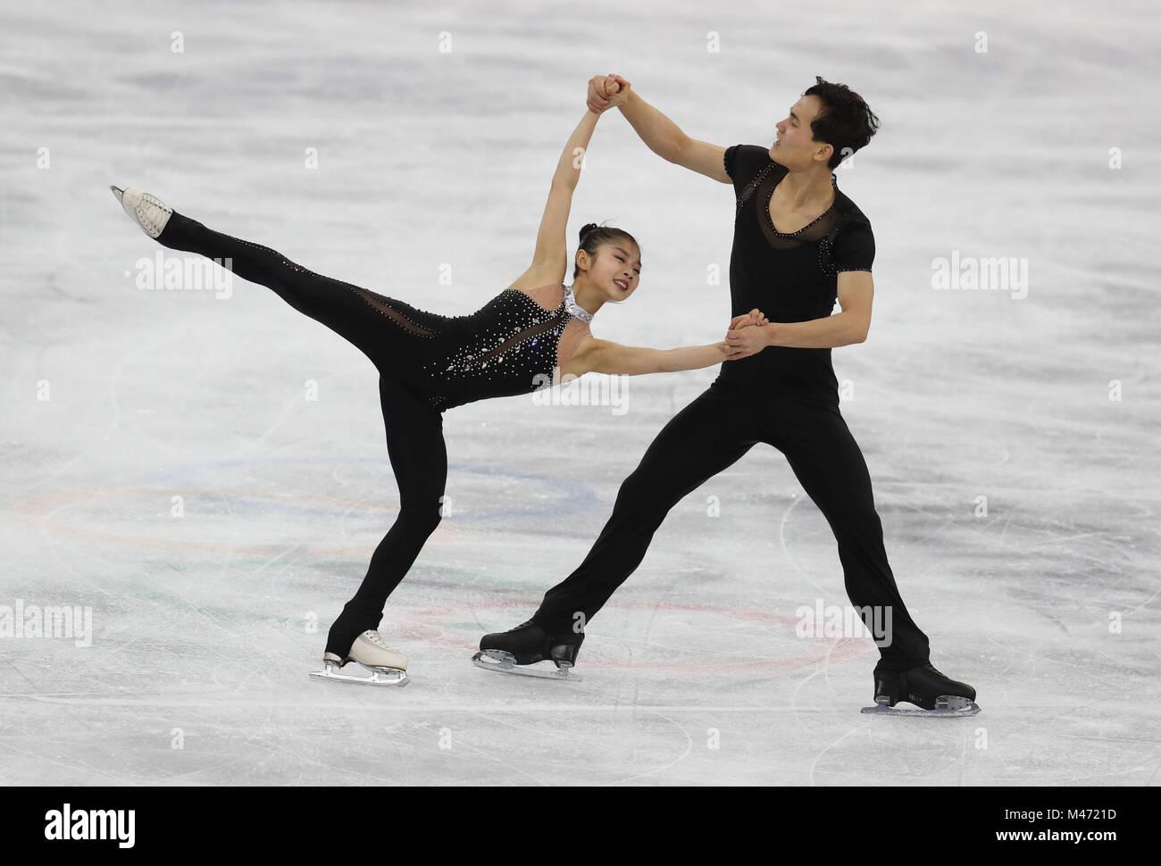 La Corée pas Ju Sik Kim Tae Ok Ryom et pendant les paires de patinage libre Figure Skating Final lors de la Photo Stock
