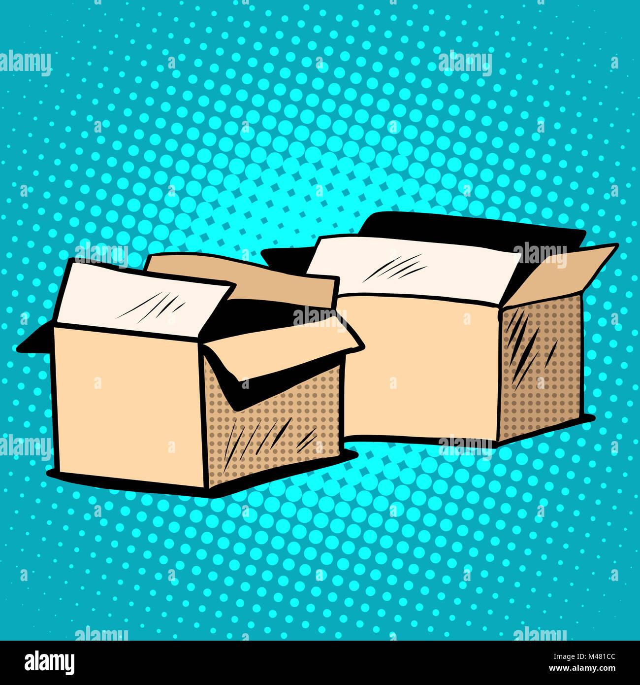 Emballage caisses carton retro Photo Stock
