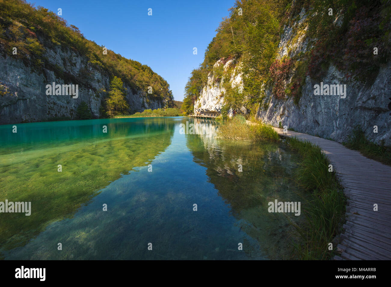Le parc national des Lacs de Plitvice, Croatie. UNESCO World Heritage site. Photo Stock