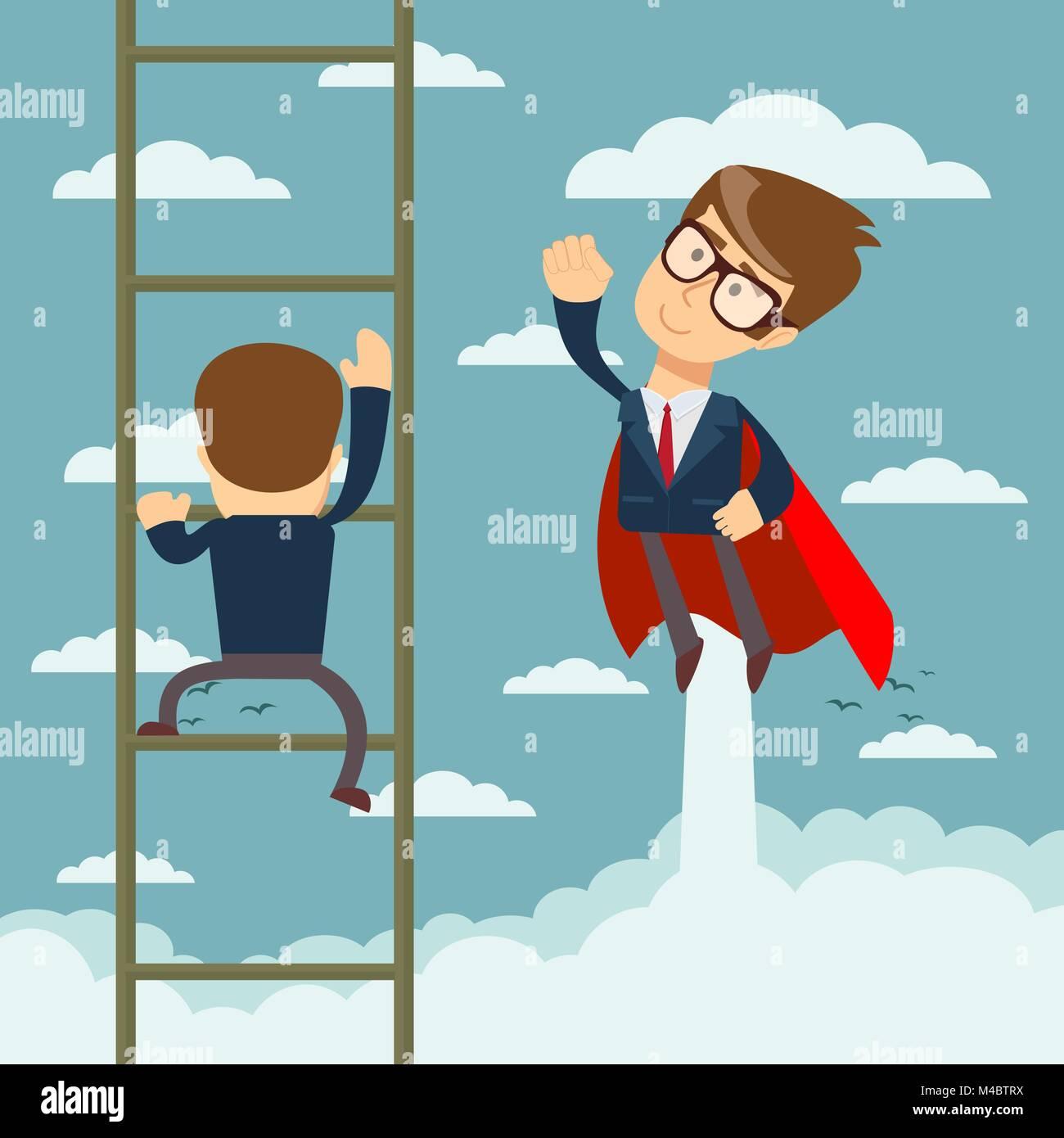 Superhero businessman fly pass businessman monte l'échelle. Photo Stock