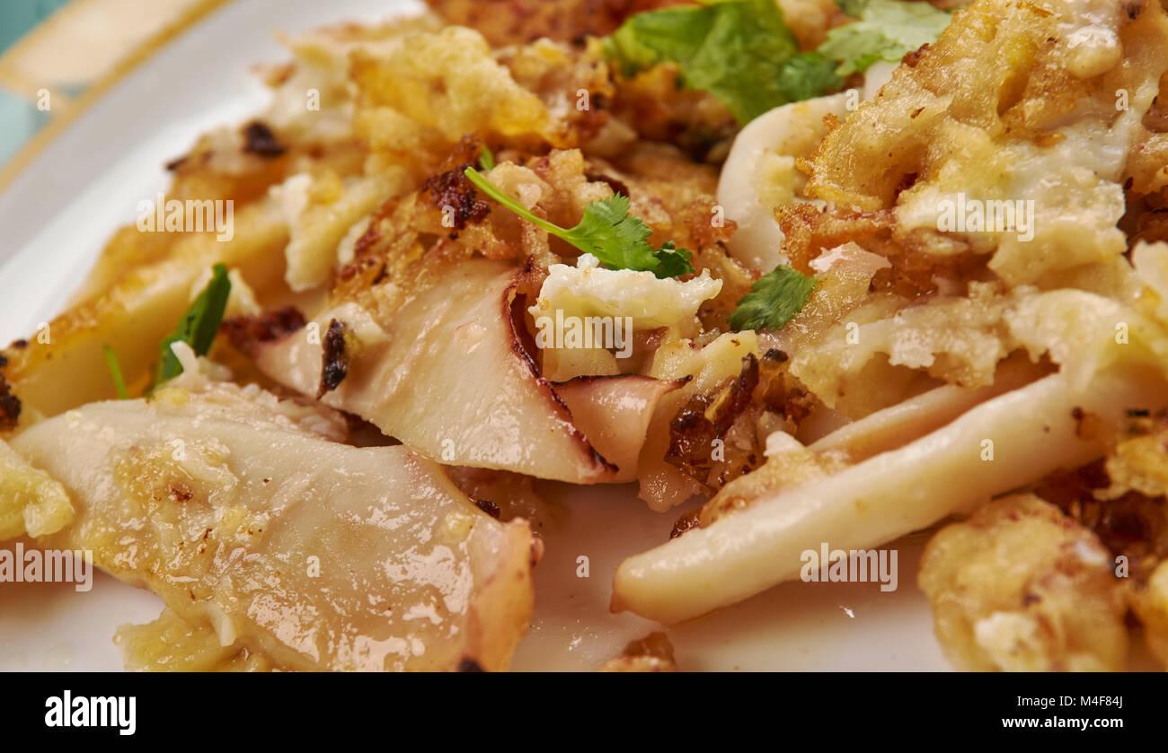 De style romain, calamars frits tranches quid close up Banque D'Images