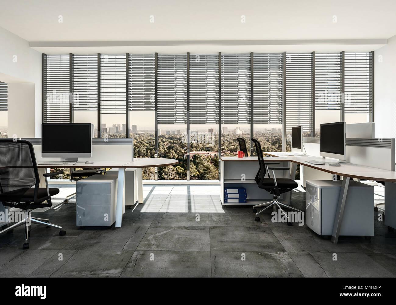 Bureau daffaires moderne avec plusieurs stations autour de style de