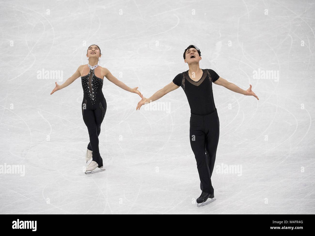 RYOM Tae ok / KIM Yu Sik, PRK, action, Eiskunstlaufen Paare Kuer Olympische Winterspiele am 15.02.2018 2018, vom Photo Stock