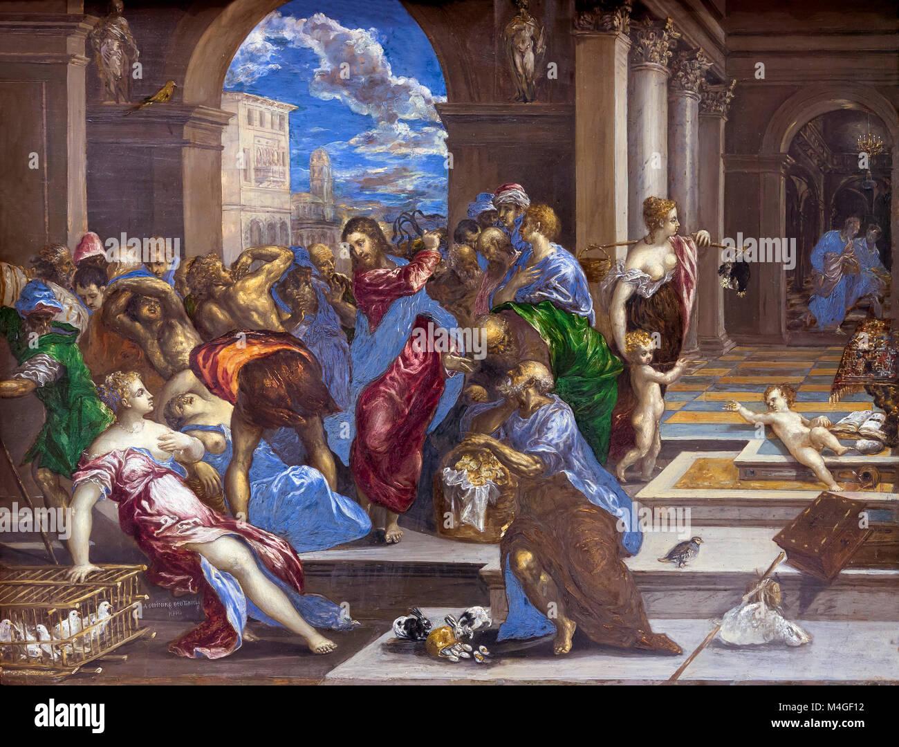 Nettoyage du Temple du Christ, El Greco, vers 1570, National Gallery of Art, Washington DC, USA, Amérique du Photo Stock