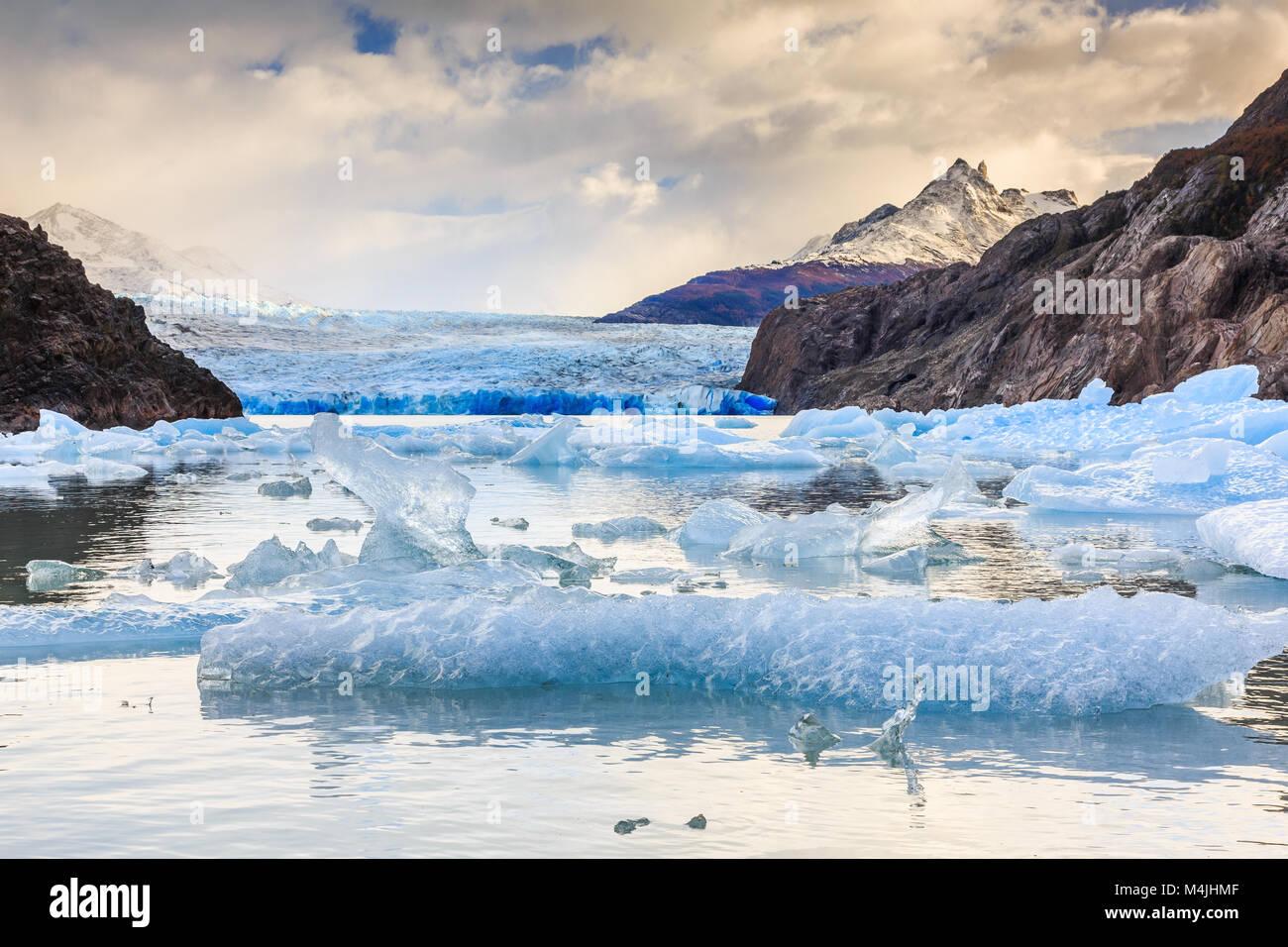 Parc National Torres del Paine, Chili. Glacier Grey. Photo Stock