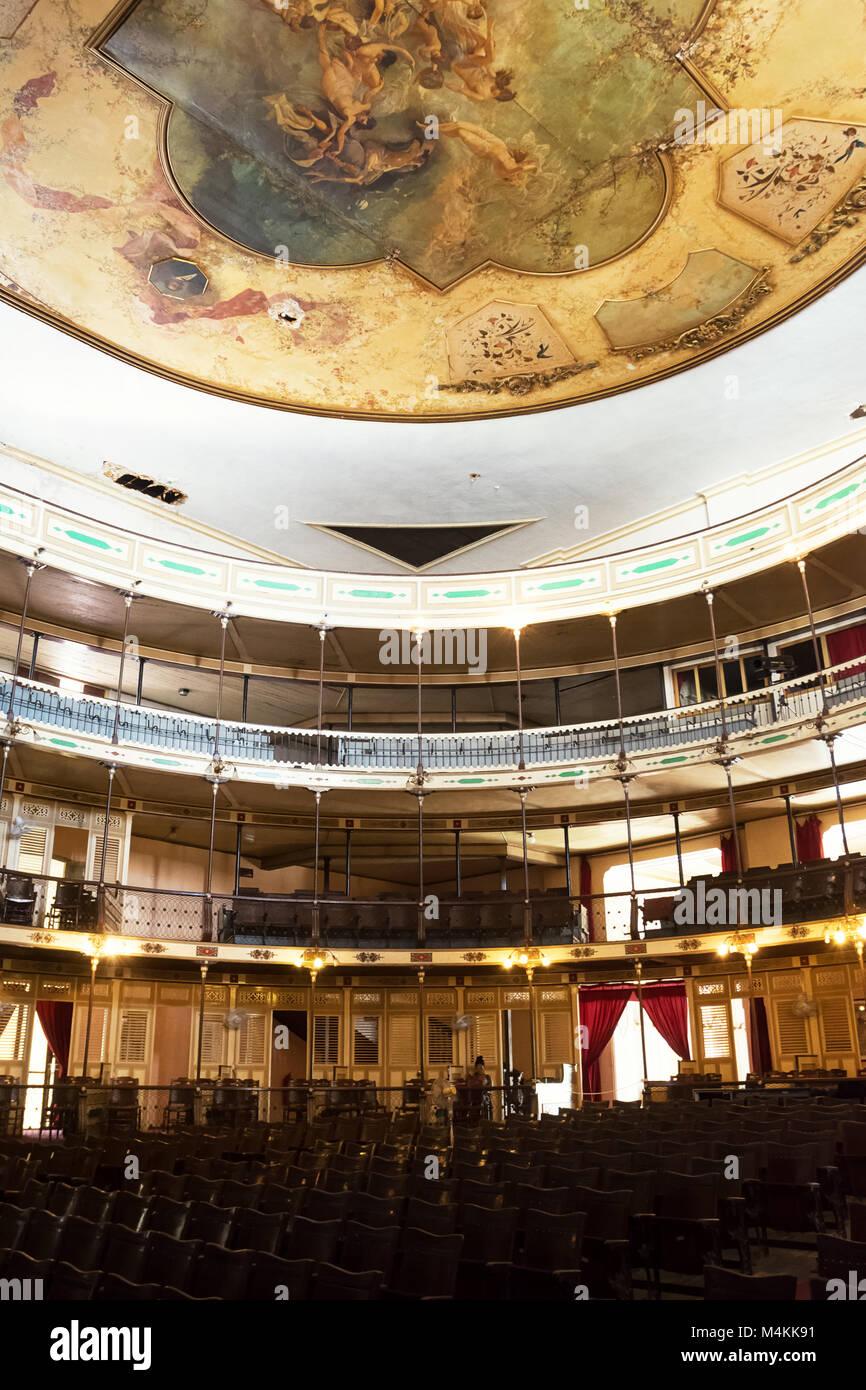 Cienfuegos, Cuba - décembre 7, 2017: l'intérieur de l'Ciefuegos theatre sans que personne Photo Stock
