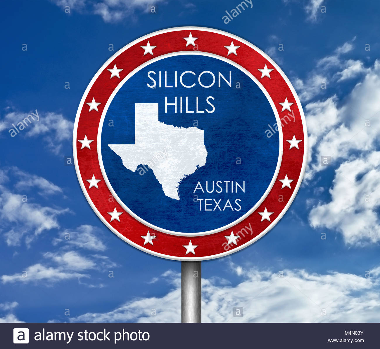 Silicon Hills à Austin au Texas - carte illustration Photo Stock