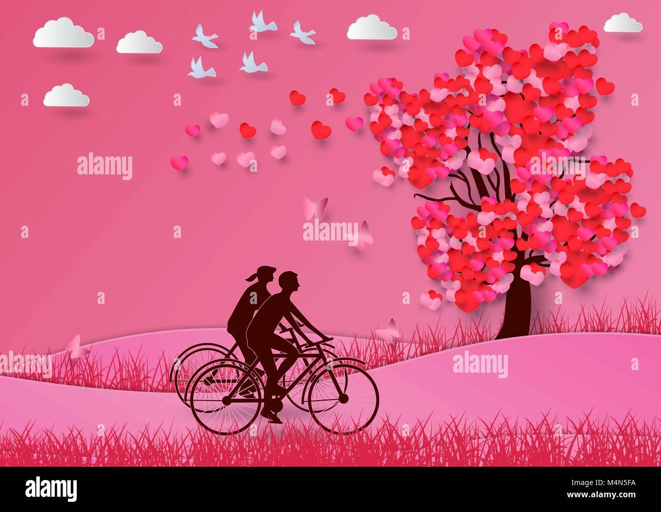 Concept de la saint valentin avec un arbre en forme de - Un coeur amoureux ...