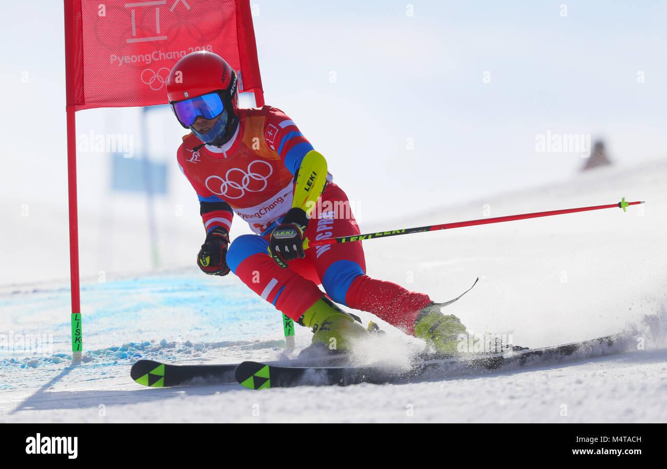 18 février 2018, la Corée du Sud, Pyeongchang, Jeux Olympiques, le ski alpin, le slalom géant, les Photo Stock