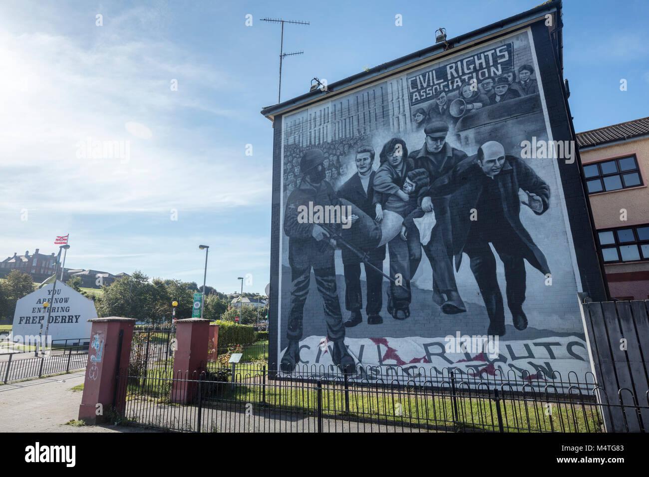 Fresque républicaine commémorant le Bloody Sunday, Bogside, Derry City, comté de Derry, Irlande du Photo Stock