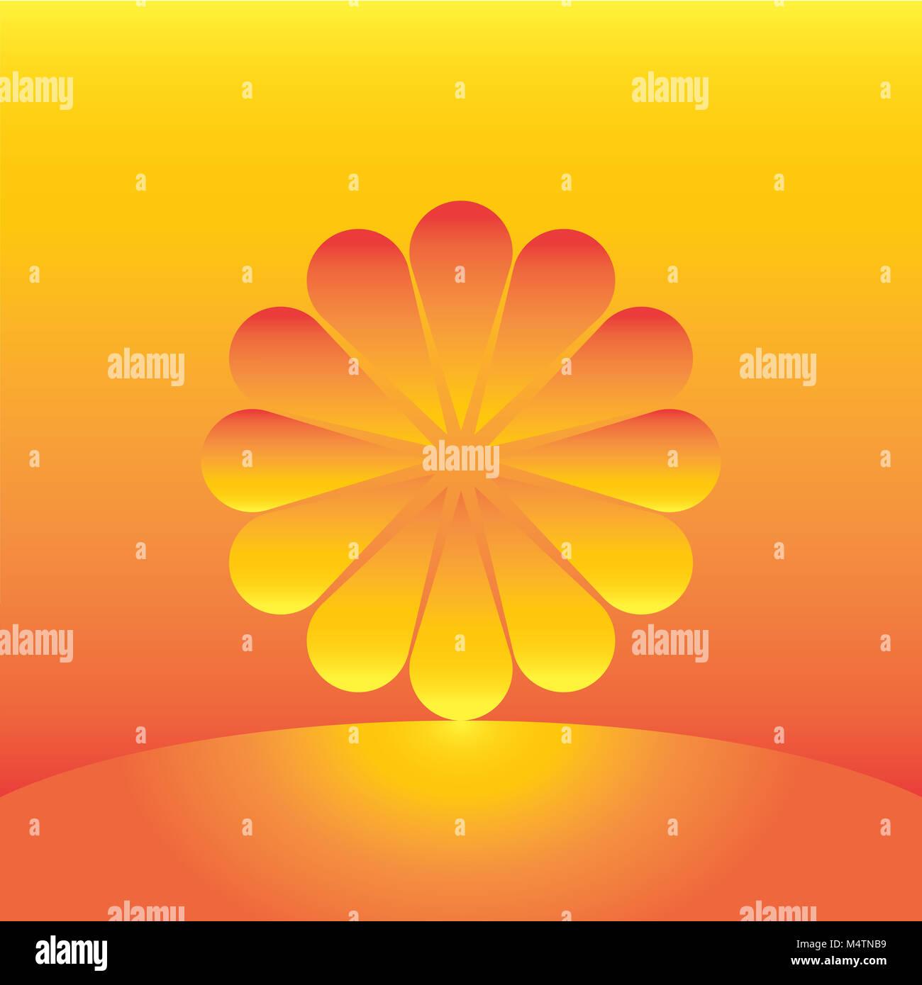 Le soleil comme une fleur qui s'élève Photo Stock