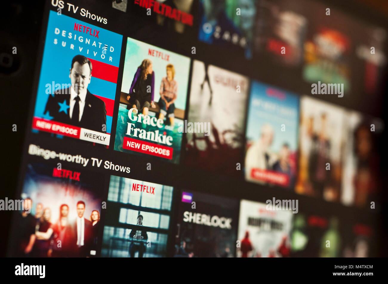Sur une tablette écran Netflix Photo Stock