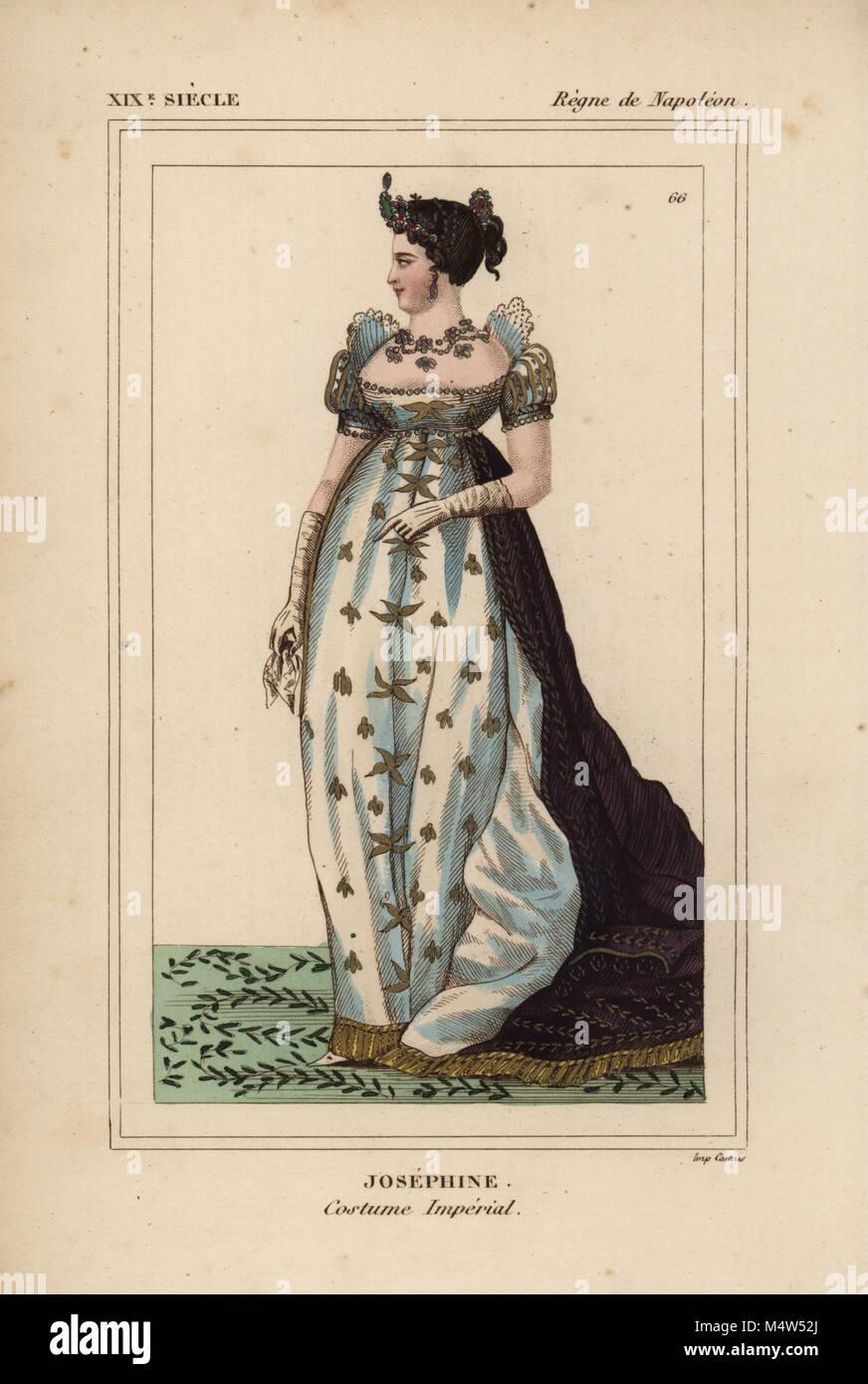 L'impératrice Joséphine, robes de cérémonie, 1763-1814. Robe en satin blanc à manches Photo Stock