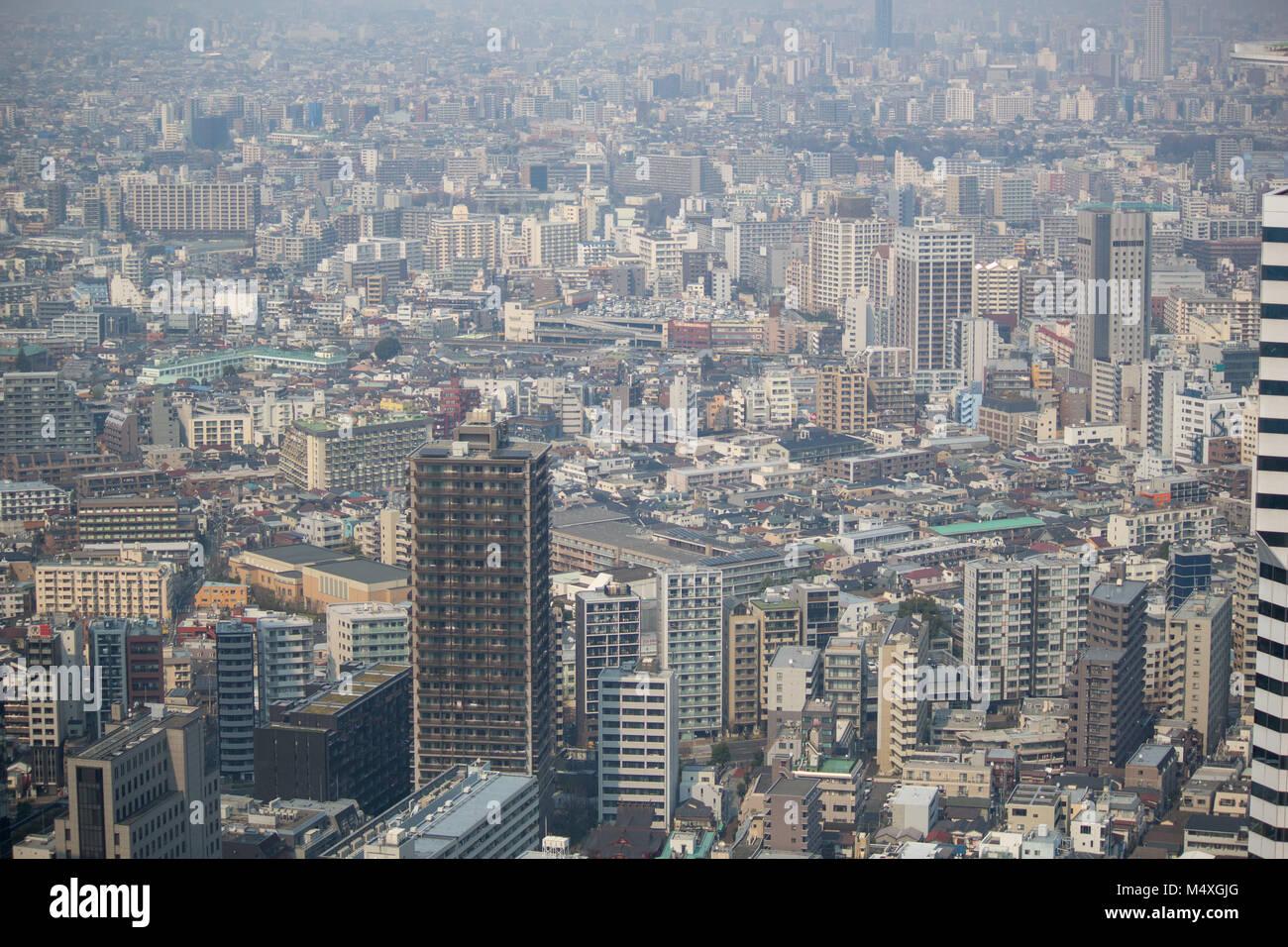 La vue depuis le 45e étage de l'édifice du gouvernement de Tokyo montrant une vue sur le centre de Photo Stock
