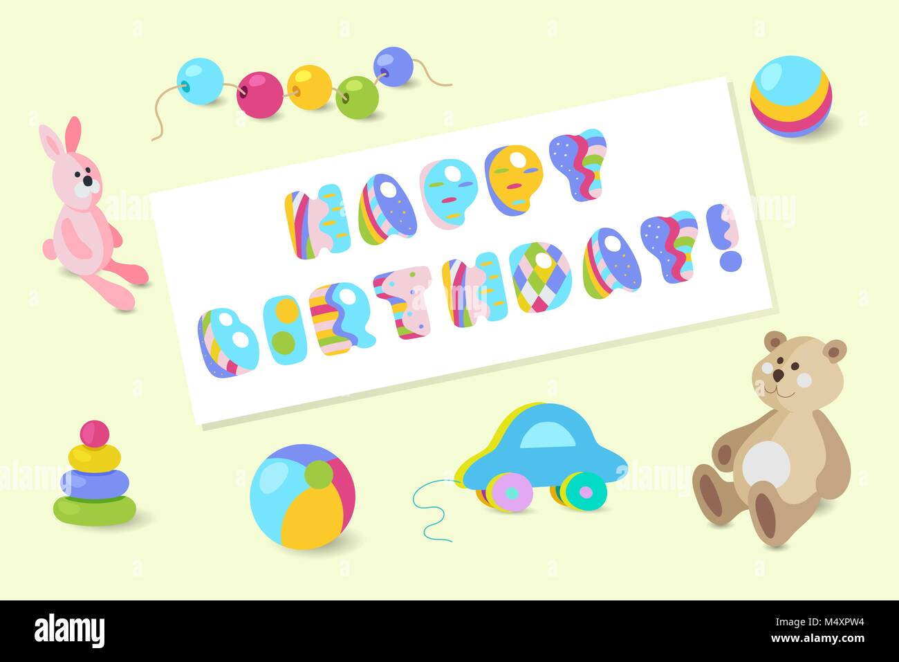 Joyeux Anniversaire Bebe Colore Vecteur Typographic Design Jouet