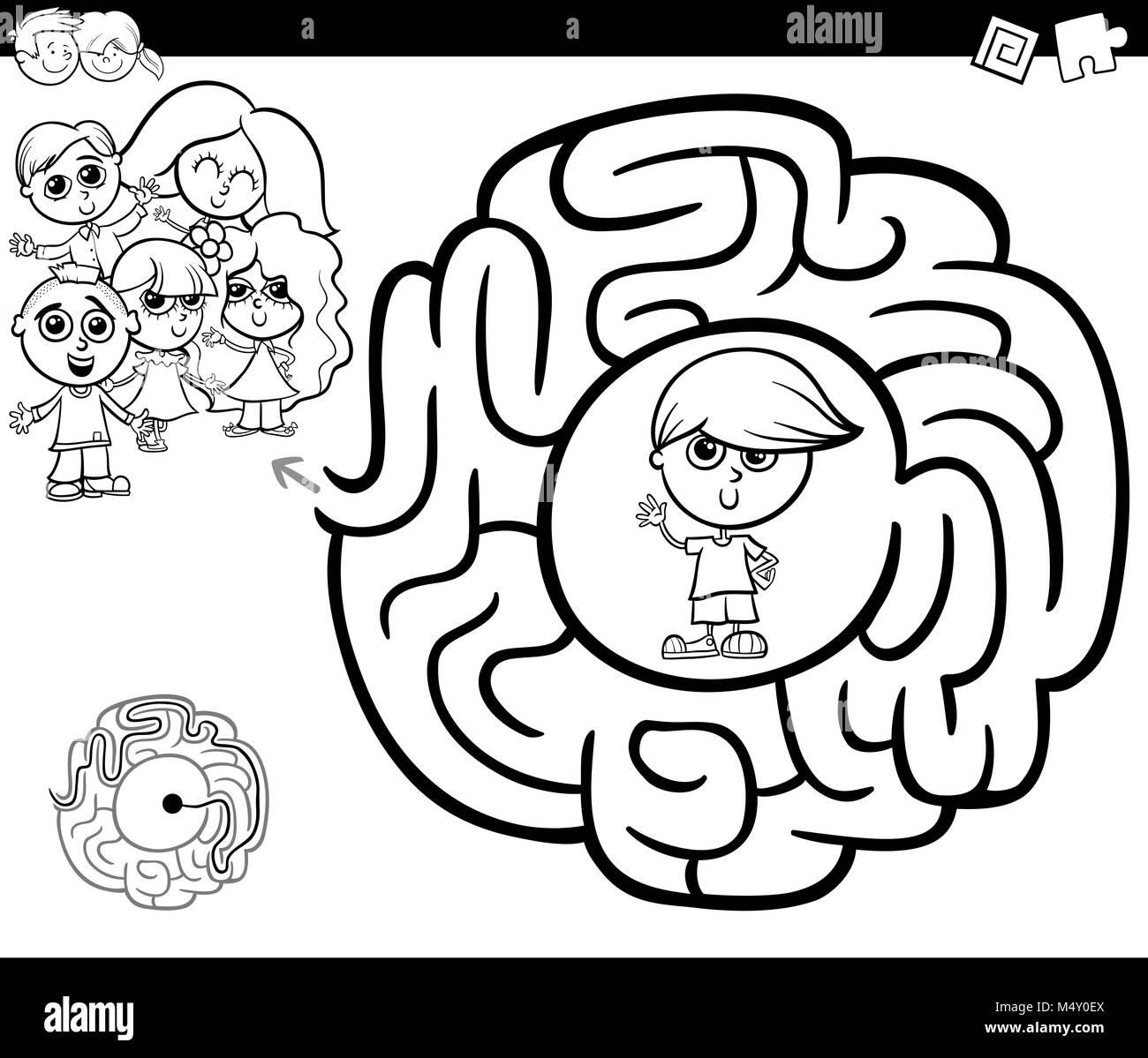 Activité gtame avec enfants labyrinthe Photo Stock