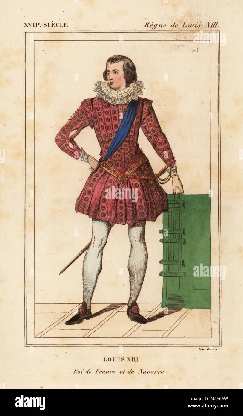 Lithographie coloriée après une impression contemporaine de  Le  Bibliophile Jacob aka Paul Lacroix Costumes historiques de la France ( Costumes