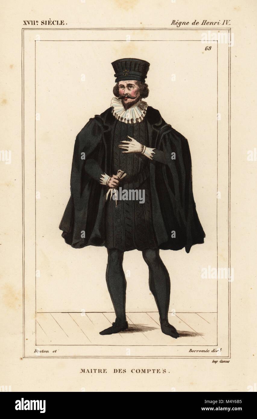 Maître de la Chambre des comptes, règne du roi Henri IV de France.  Lithographie