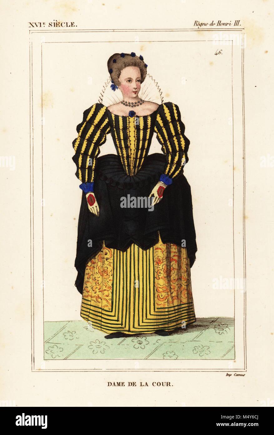 Dame de la cour, le règne du roi Henri III de France. Lithographie coloriée