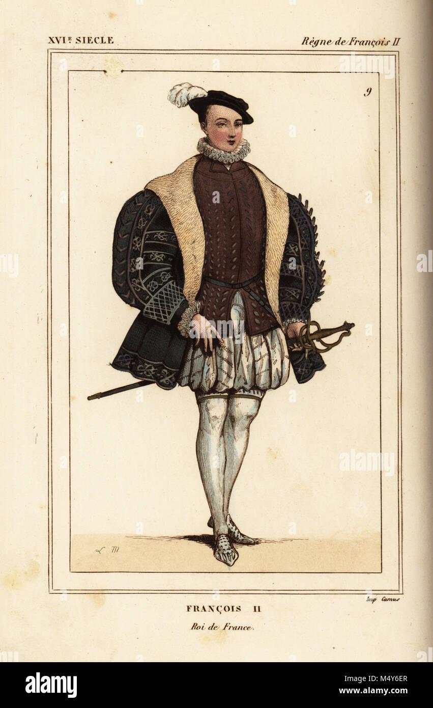 Le roi François II de France. Illustration dessinée et lithographiée par L.  Massard après un portrait de Roger de Gaignieres\u0027 images portfolio IX 2 de   Le