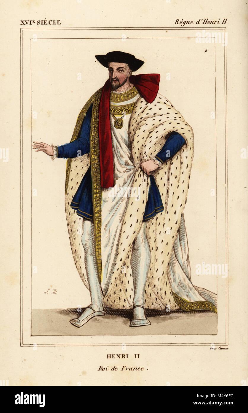 Le roi Henri II de France en costume de l\u0027Ordre de Saint Michel. Henri II,  roi de France. Illustration dessinée et lithographiée par Léopold Massard  d\u0027une