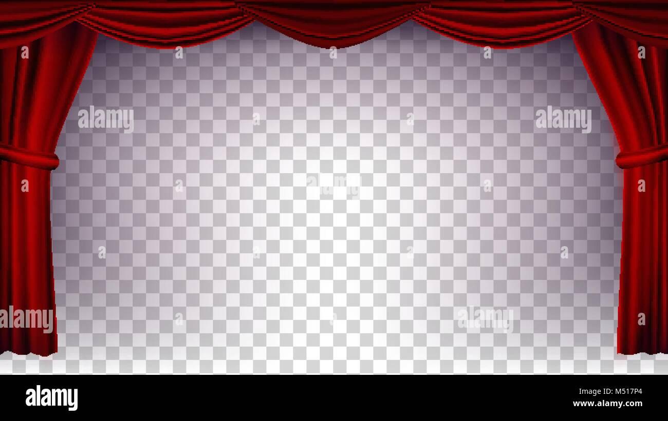 Rideau de théâtre rouge vecteur. Fond transparent. Affiche pour ...
