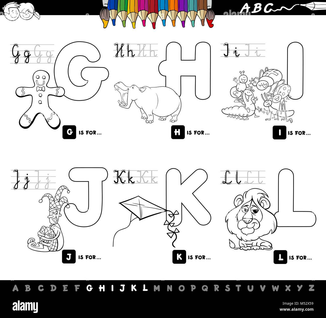 Dessin Anime Educatif Pour Enfants Coloriages Alphabet Photo Stock Alamy