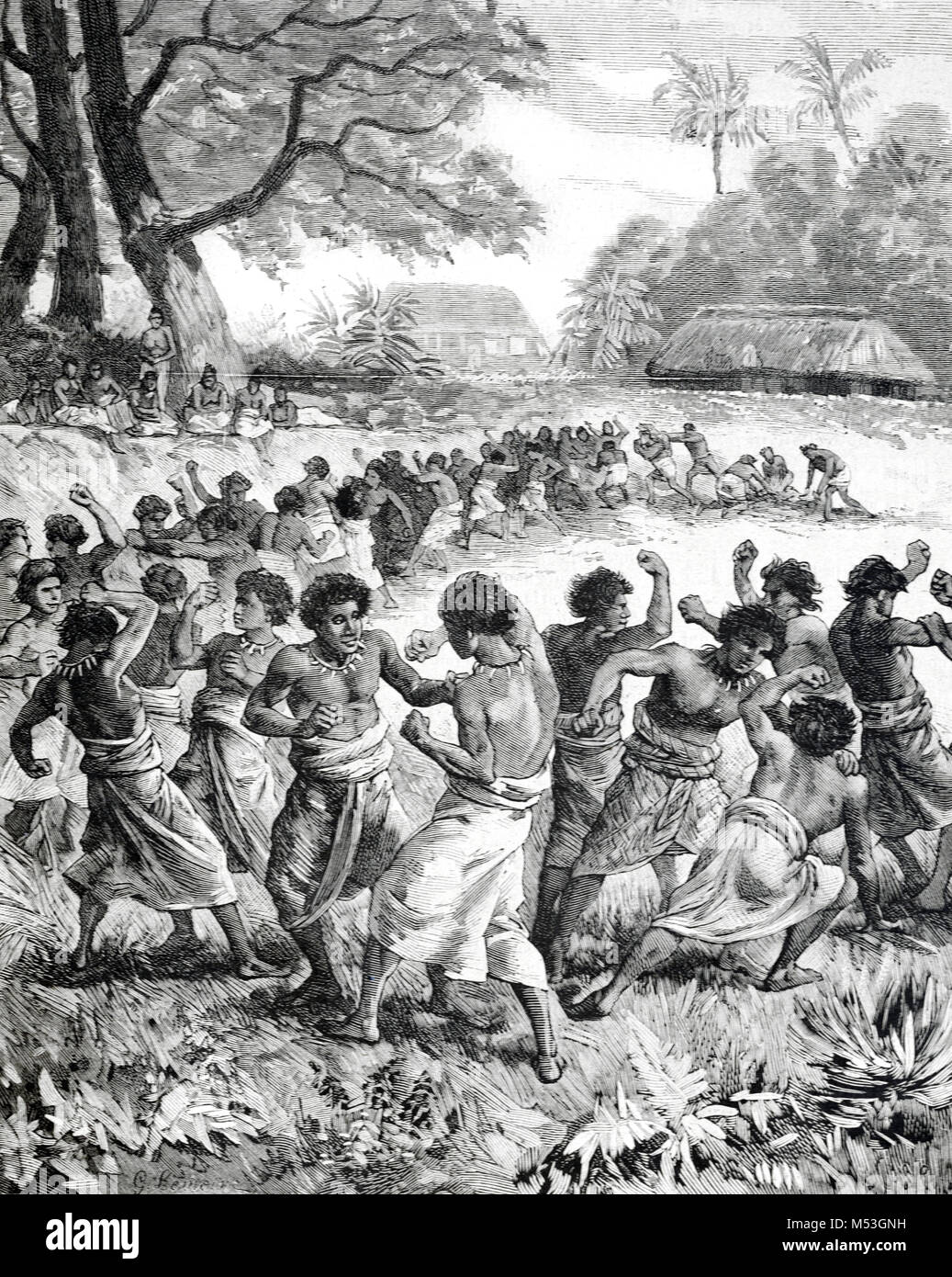 Les hommes de Tonga Tonga en boxe, ou le Royaume de Tonga, Polynésie française (gravure, 1988) Photo Stock