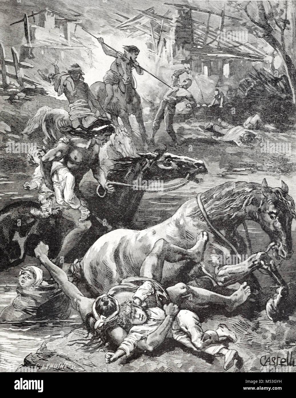 Conflit entre colonisateurs européens ou les colons et les Indiens au Brésil. Les Brésiliens autochtones attaquent Banque D'Images