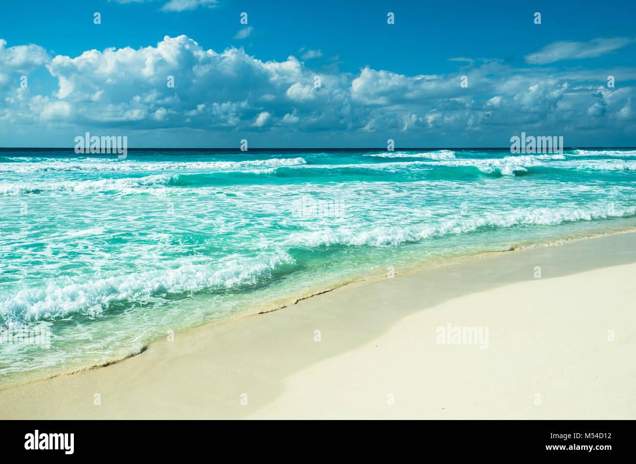 Caribbean Beach panorama, Tulum, Mexique Photo Stock