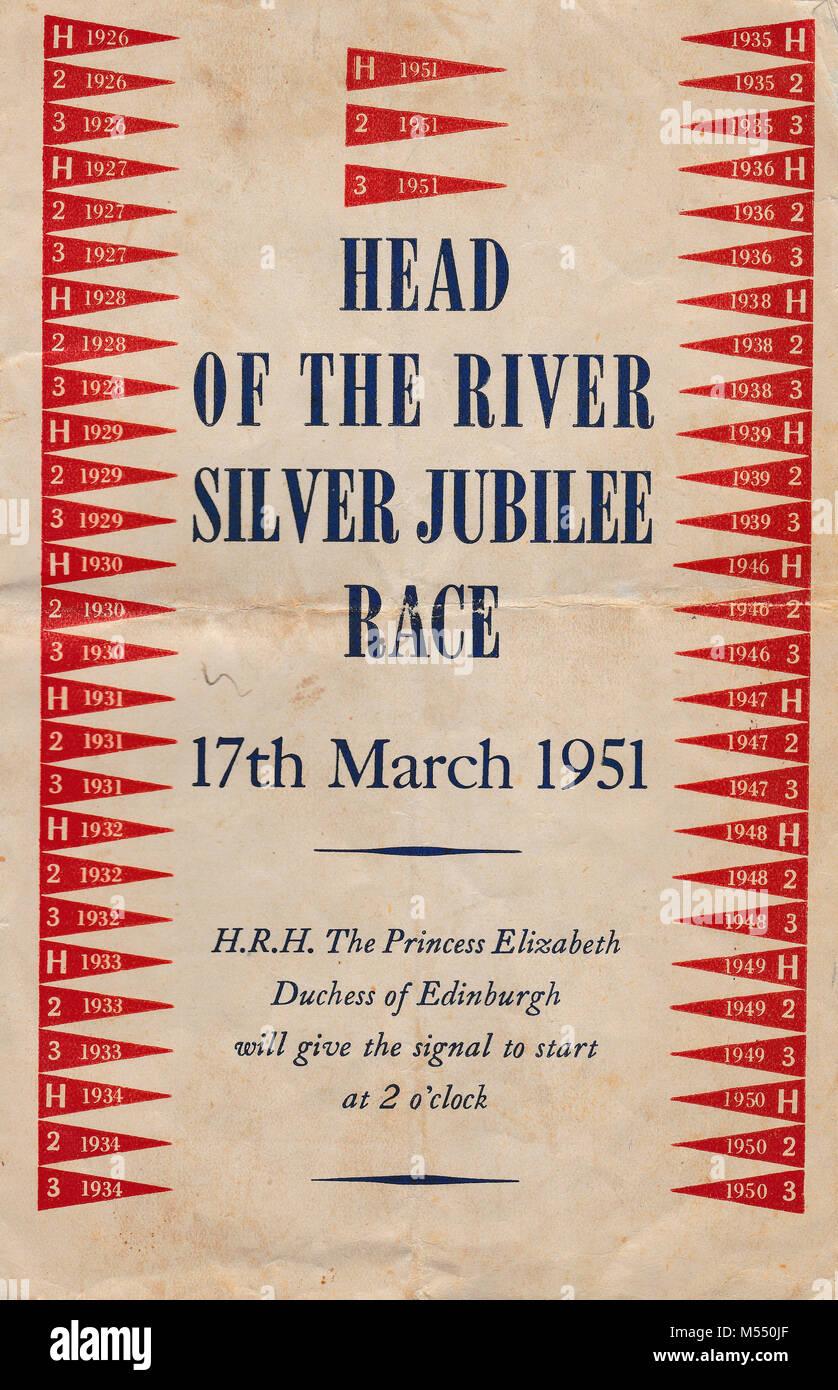 Chef De La Riviere Race 1951 Couverture Du Programme Banque D Images