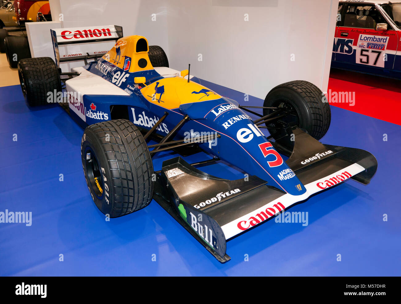 Nigel Mansell's 1992 Williams FW14B de Formule 1 dans lequel il a remporté le Championnat des pilotes, à l'affiche au Salon de voitures Londres 2018 Banque D'Images