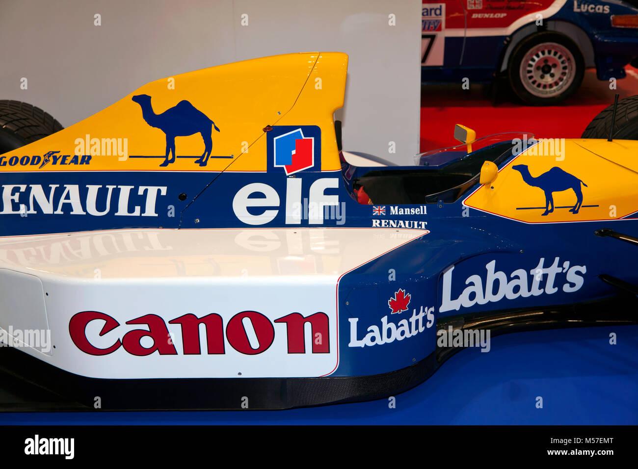 Close-up de Nigel Mansell's Williams FW14B de Formule 1 dans lequel il a remporté le Championnat des pilotes, à l'affiche au Salon de voitures Londres 2018 Banque D'Images
