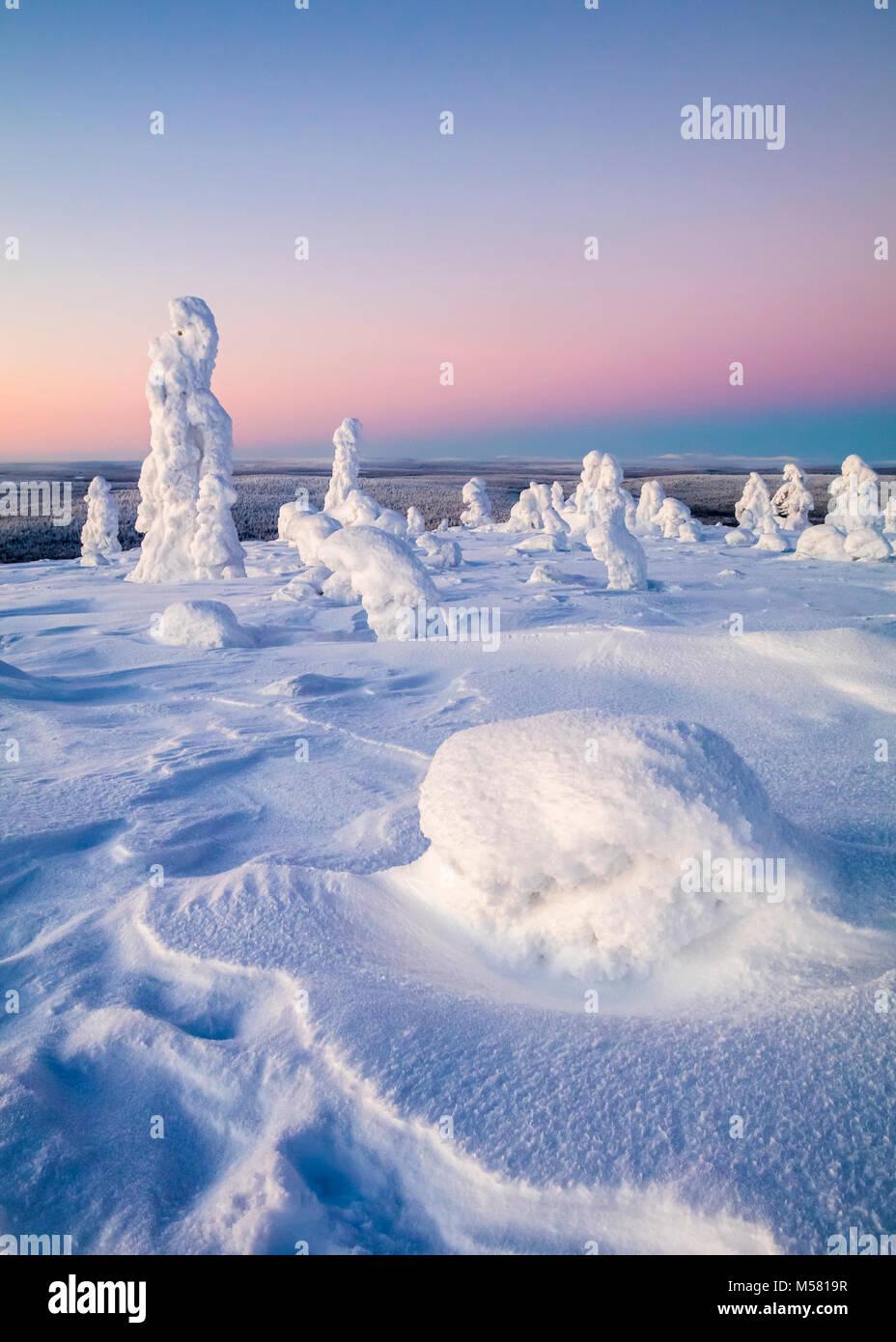 Snowy fells en Finlande Photo Stock