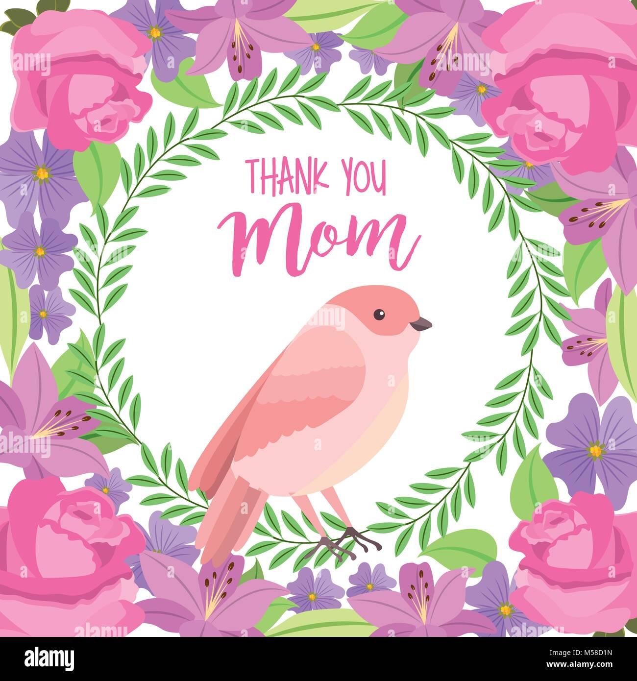 Merci maman oiseau mignon carte panoplie décoration fleurs feuilles Illustration de Vecteur