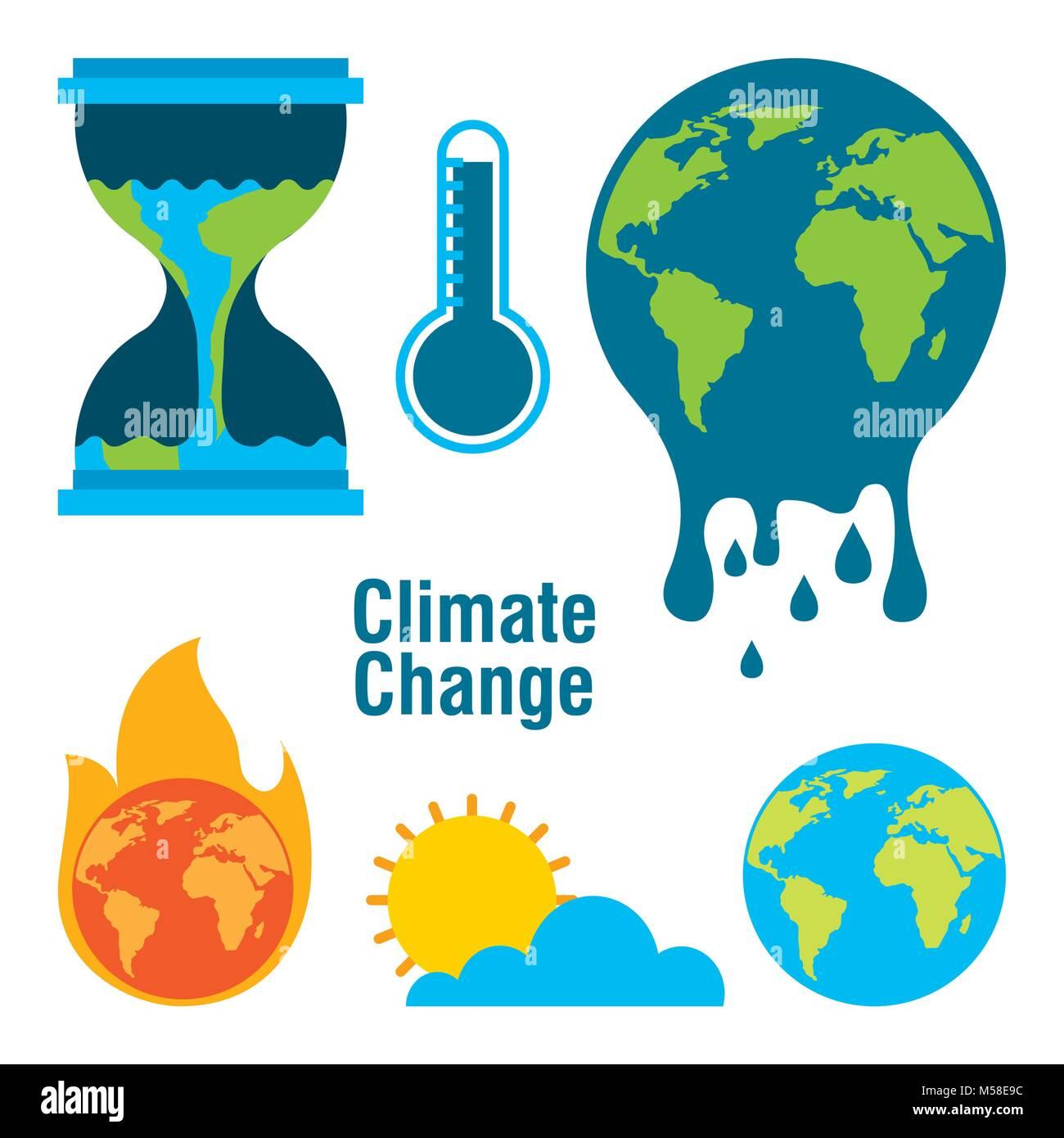Le changement climatique monde planète température temps fondu d'incendie Photo Stock