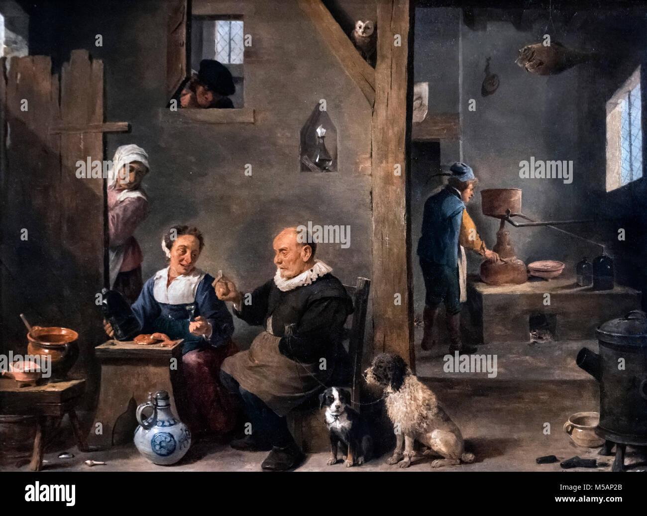 Une distillerie avec un homme âgé l'achat Gin par David Teniers le Jeune (1610-1690), huile sur toile, Photo Stock