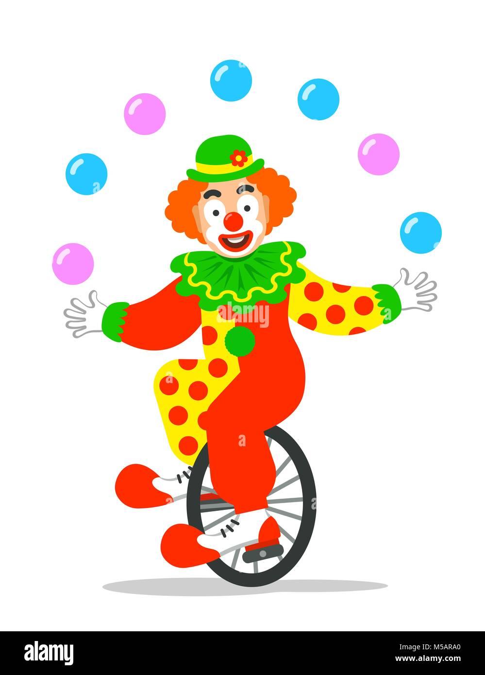 Funny Clown De Cirque Balles De Jonglage Sur Monocycle Cartoon
