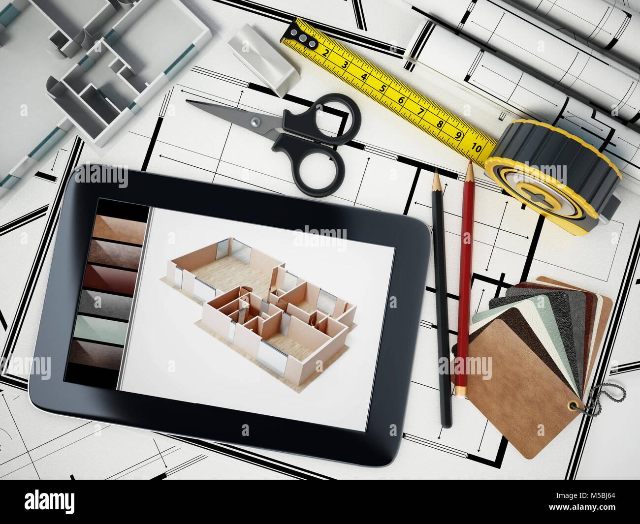 Outils De Décoration à La Maison Debout Sur Chambre Bluprints. 3D  Illustration.