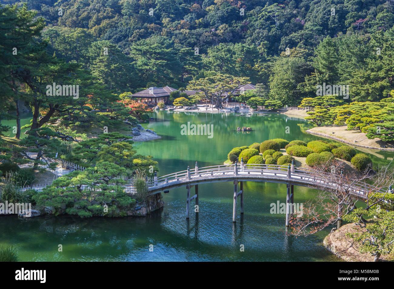 Le Japon, l'île de Shikoku, Ville de Takamatsu, Ritsurin Koen Jardin Photo Stock