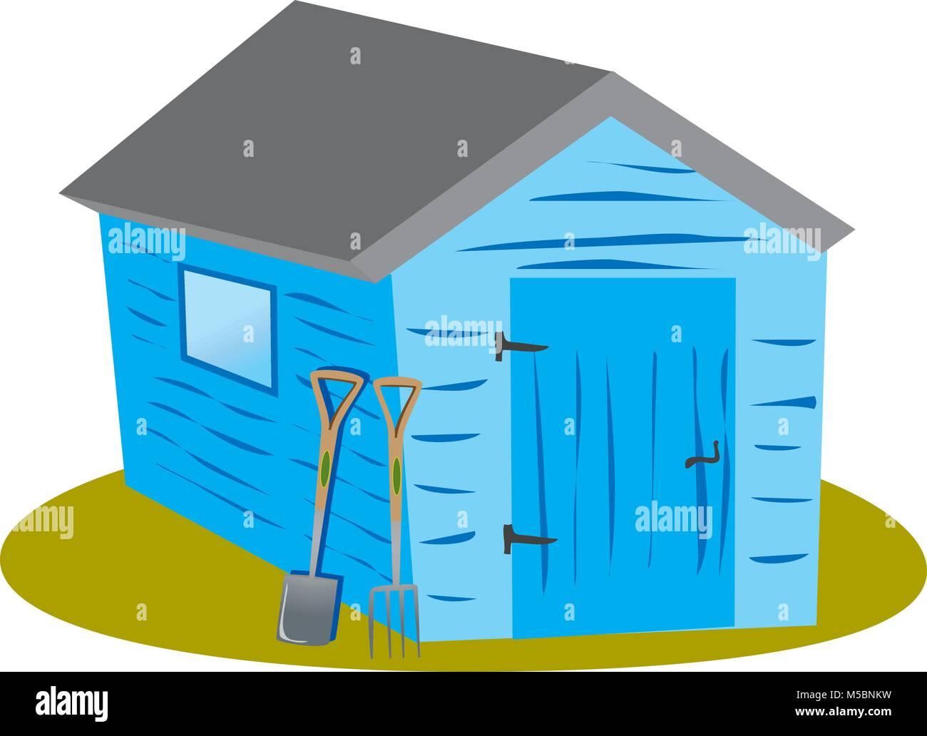 Un dessin animé blue abri de jardin avec une bêche et fourche Photo Stock